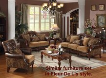 Genuine leather, chenille, carved wood Sofa Chair Loveseat Ottoman in Camp Lejeune, North Carolina