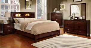 New Brown Cherry Eastern King Bookcase Bed Frame- FREE DELIVERY in Huntington Beach, California