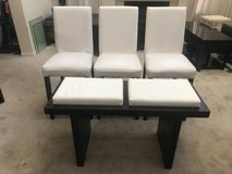 3 White Leather Pub Chairs + Bench in Shorewood, Illinois