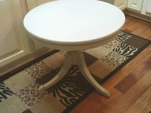 THIS IS A TABLE ALL WOOD ,TRI LEGGED ,NICE LINES ,THE COLOR IS GRAY in Orland Park, Illinois