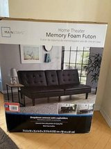 New Mainstays Memory Foam Faux Leather PillowTop Futon-Black in Naperville, Illinois