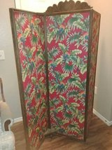 Hand carved wood frame tropical rolling privacy panel in Luke AFB, Arizona