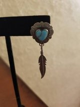 "ONE 1.5/8"" stamped sterling silver heart and turquoise feather earring in Camp Pendleton, California"