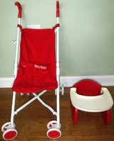 American Girl Doll Bitty Baby Stroller + Booster High Chair in Naperville, Illinois
