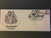 Pentagon 50th Anniversary envelope with Pentagon Station date stamp 12 May 93 in Fort Belvoir, Virginia