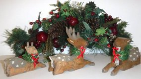 Holiday Evergreen Spray/Swag + Reindeer Decor in Naperville, Illinois