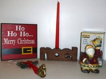 Wood Christmas Sign - Noel + Santa Candle Holder + Bells in Naperville, Illinois