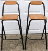 Set of 2 Folding Bar Stools - Black Metal / Wood in Orland Park, Illinois