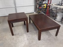 Wood coffee table (end table in photo has been sold) in The Woodlands, Texas