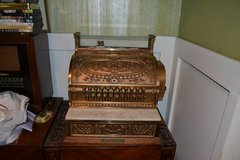 Antique Brass National Cash Register model 332 circa 1910 in Camp Lejeune, North Carolina