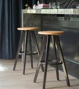 Traditional Wood Finished Bar Stools - Set of Two - New! in Joliet, Illinois