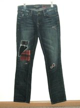 Lucky Brand Distressed ZOE STRAIGHT Patchwork Jeans Tag 4 / 27 Measures 29 x 32 in Morris, Illinois