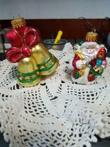 """2 Shiny Blown Glass Ornaments! Christmas Bells and Santa Claus 3-5"""" tall in Bellaire, Texas"""
