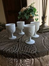 Reduced  4 Imperial  Shabby Chic Glass Milk Glass Goblets in Glendale Heights, Illinois