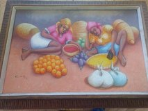 Original Haitian oil painting by Jean Richard Coachy in Fort Leavenworth, Kansas