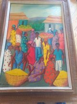 Original Haitian Oil Painting by Maurice Guerre in Fort Leavenworth, Kansas