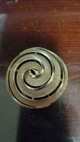 "Vintage TRIFARI Large Brushed Gold Tone Swirl Brooch / Pin! Signed 2"" wide in Bellaire, Texas"