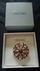 Vintage TRIFARI Silver Tone Brooch / Pin! Clear & Red Rhinestones! SIGNED! in Bellaire, Texas