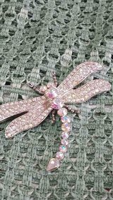 "Beautiful Iridescent Rhinestone DRAGONFLY Pin / Brooch! Silvertone 2"" long x 2 1/2"" wide. in Bellaire, Texas"