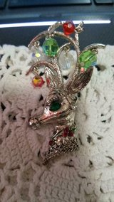 "Rudolph Red Nose Reindeer Head Brooch / Pin! 3"" h with Rhinestones and Beads! in Bellaire, Texas"