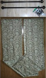 2 Drape Panels -OR- 2 Brown Curtain Rods in Naperville, Illinois