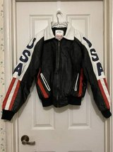 "1991 ""USA Flag"" Leather Jacket by Michael Hoban ""WHEREMI"" Label in Travis AFB, California"