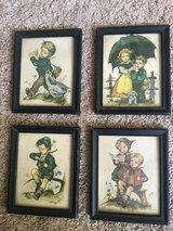 Four Vintage Hummel-like German postcards by Hilde in Solid Wood Frames in Quantico, Virginia