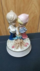 "Vintage 2 Girl Figures Feeding Bird Porcelain Musical Figurine! 5"" tall Made in Japan in Kingwood, Texas"