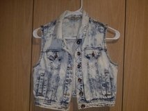 Highway Jeans Blue Jean Jacket Distressed Vest Sleeveless Button Down Girls (T=1) in Fort Campbell, Kentucky
