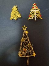 3 Vintage Holiday Christmas Tree Brooches with Rhinestones! So Nice.  No missing stones! in Bellaire, Texas