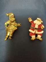 2  Vintage Holiday Santa Claus  Brooches with Rhinestones!  So Nice in Bellaire, Texas