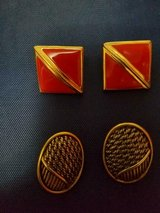 2 Pairs of TRIFARI Pierced Earrings! Red and Black Goldtone!  SIGNED in Bellaire, Texas