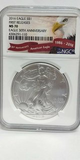 2016 american eagle first release ms70 30th annivesary , ngc, 4306291-110 in Camp Lejeune, North Carolina