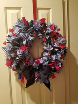 """red, white & blue rag wreath - approx 20"""" in Pasadena, Texas"""