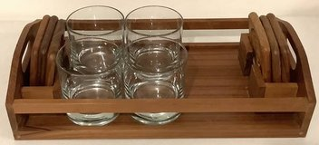 Teakwood Serving Set - Tray / Coasters + 4 Glasses in Naperville, Illinois