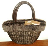 NEW Bath Body Works Lined Brown Wicker Rattan Faux Fur Trim Tote Bag Purse in Morris, Illinois