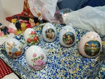 6 Mixed Lot of Decorative Porcelain Hand painted Eggs!  different sizes!  pretty! in Bellaire, Texas