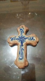 "Small Terracotta Cross with Blue Ceramic Tile!   So unique and pretty!!  5"" in Kingwood, Texas"