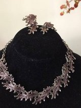 Vintage Reticulated Silver Leaf Choker Necklace and Clip Earrings $30 in Bartlett, Illinois