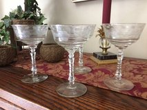 Set of 8 Vintage Champaign / Dessert Stemmed Crystal Glasses in Westmont, Illinois