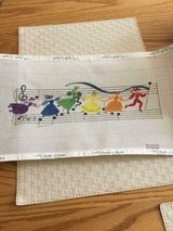 16x8 New Needlepoint on Hand-Painted Canvas of Figures Dancing in a Music Score in Fort Belvoir, Virginia