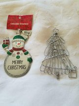 2 Large Metal Silver Tone Christmas Ornaments! 2018 Snowman and Christmas Tree in Bellaire, Texas