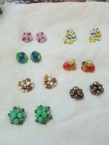 7 prs Vintage WEST GERMANY Bead Cluster Clip Earrings! Great Condition! SIGNED in Bellaire, Texas