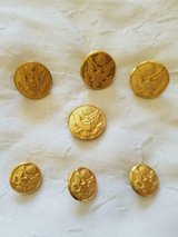 7 Vintage Gold Tone Military Eagle Design Jacket Buttons! ( in Bellaire, Texas