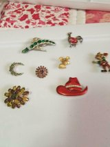 8 Vintage Mixed Lot of Brooches Pins! Cute!! Unsigned Rooster, Hobo, Mouse, Cowgirl Hat in Spring, Texas