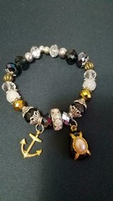 Women's U.S. NAVY Glass Stone Beaded Bracelet + Gold Tone Anchor & Pearl Charms! in Bellaire, Texas