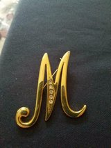 """Goldtone  Monogram Initial """"M""""  Brooch / Pin with 5 Cubic Zirconia Stones! in Spring, Texas"""