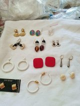 Mixed Lot of 12 Pairs of Pierced Earrings! Red, Brown, White, Black, Gold, Multi colors! in Bellaire, Texas