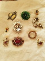 Vintage Mixed Lot of 10 Assorted Vintage Rhinestone Brooches Pins! Heart, Duck, Flowers, Snowman... in Spring, Texas