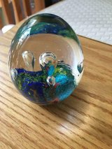 Solid Glass Colorful Egg-Shaped Paperweight in Fairfax, Virginia